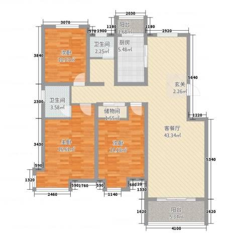 和兴世纪花都3室1厅2卫1厨119.00㎡户型图