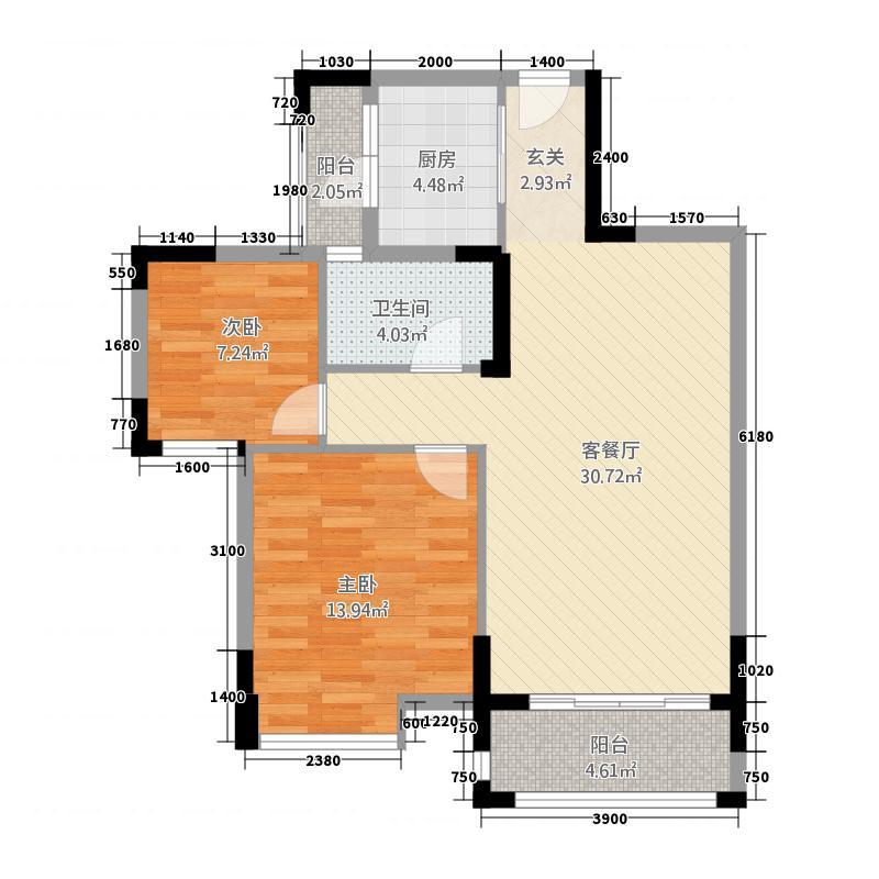金色愿景东苑88.11㎡C2户型2室2厅1卫1厨