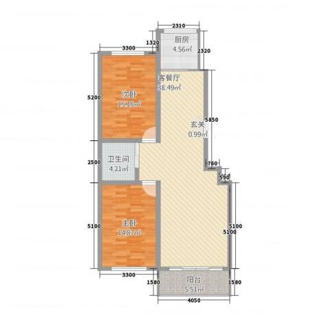 中新花园2室1厅1卫1厨115.00㎡户型图