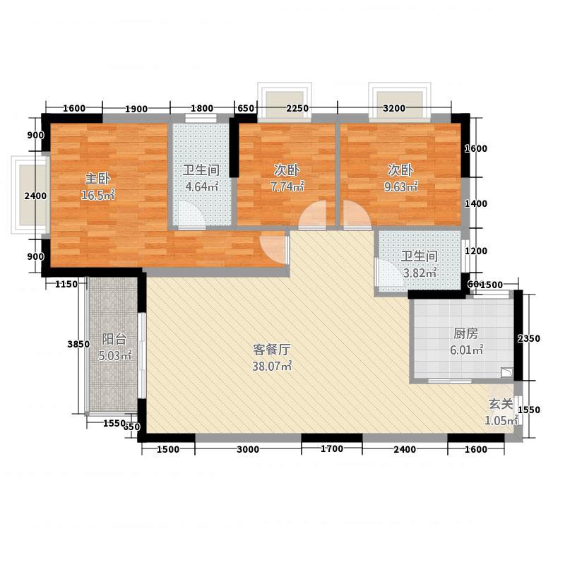 中兴大厦128.50㎡A1户型3室2厅1卫1厨