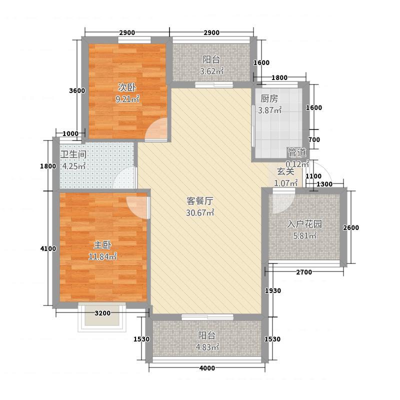 荆门城南雅苑87.40㎡E户型2室2厅1卫1厨