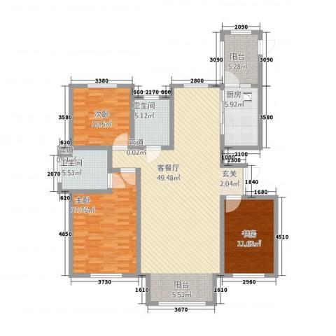 太阳新城3室1厅2卫1厨159.00㎡户型图