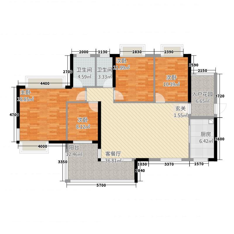 京界华府14.27㎡1、3、6、7栋05户型4室2厅2卫1厨
