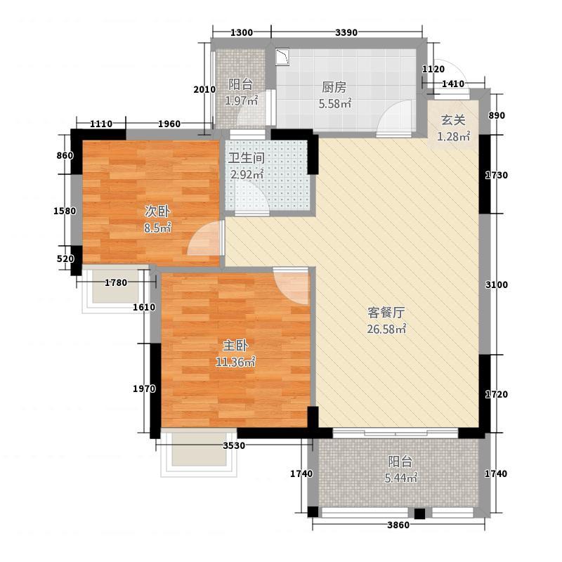 盛世中华86.88㎡二期1#-1-1户型2室2厅1卫1厨
