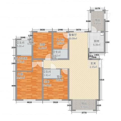太阳新城3室1厅3卫1厨181.00㎡户型图