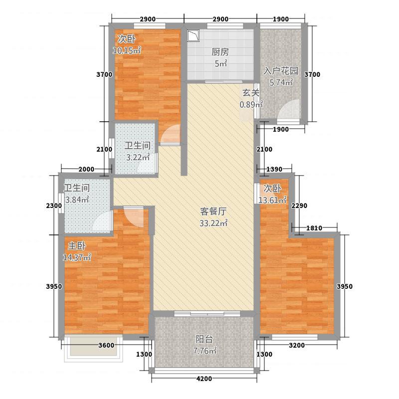 江景兰庭125.00㎡户型2室2厅1卫