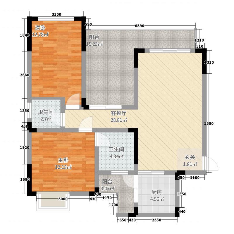 誉峰1.78㎡A3户型2室2厅1卫1厨