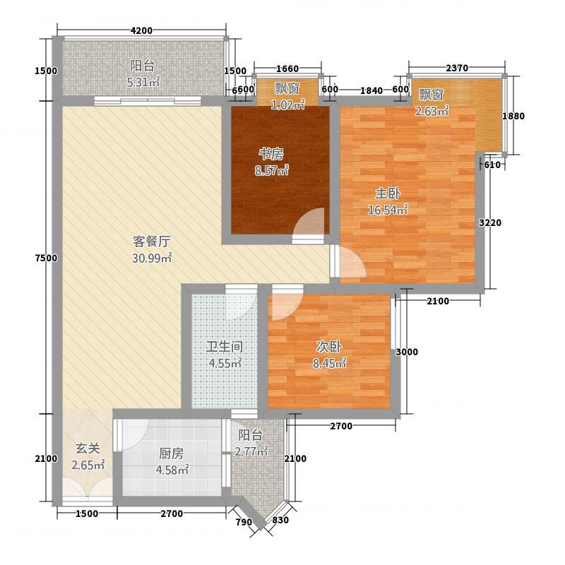 相如公园1号14.60㎡H2户型3室2厅1卫1厨