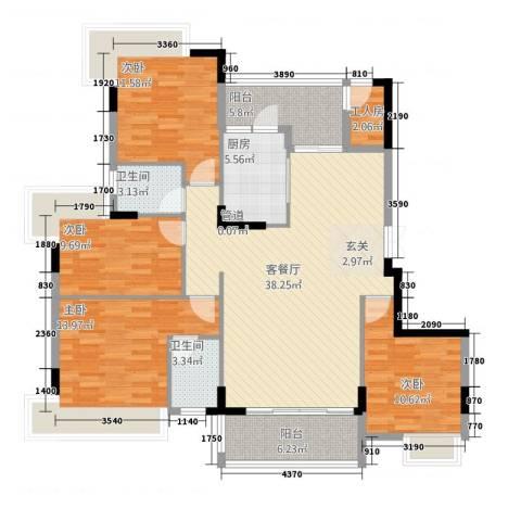 万江住宅4室1厅2卫1厨124.67㎡户型图