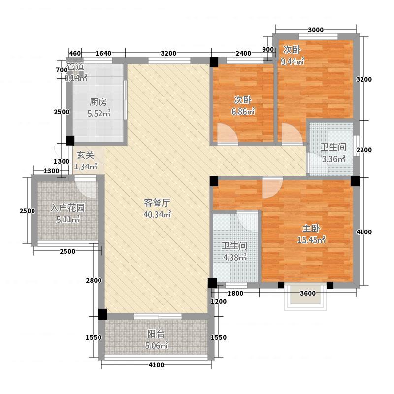 荆门城南雅苑116.80㎡D1户型3室2厅2卫1厨
