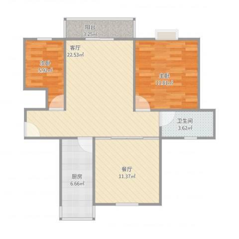 高行绿洲2室2厅1卫1厨88.00㎡户型图