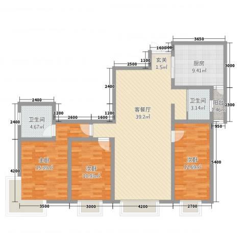 明苑花园3室1厅2卫1厨139.00㎡户型图