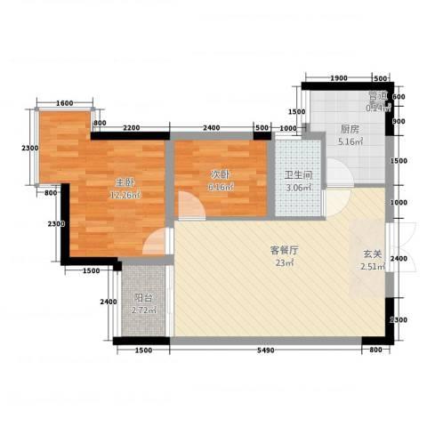 明苑花园2室1厅1卫1厨75.00㎡户型图
