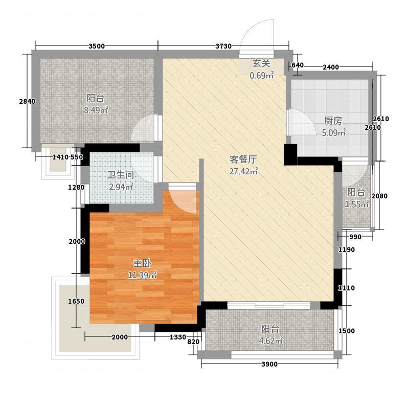 润森加州阳光76.83㎡加州卡C2户型1室2厅1卫1厨