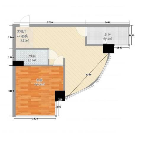 MAX未来1室1厅1卫1厨52.00㎡户型图