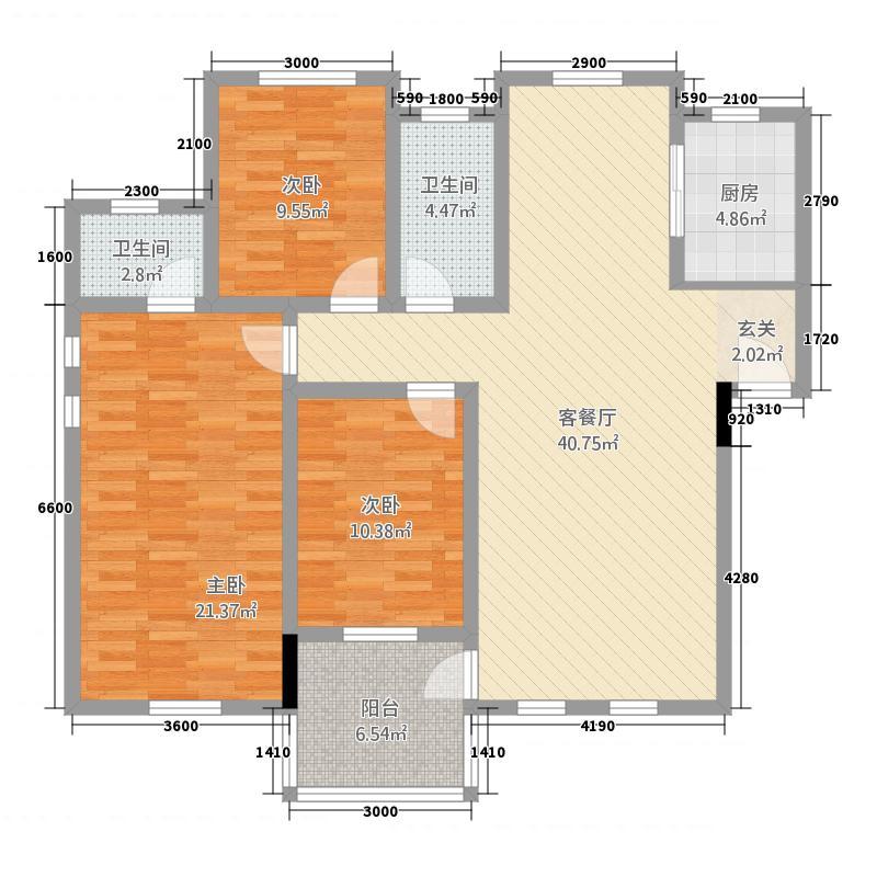 江景兰庭125.00㎡户型3室2厅2卫1厨