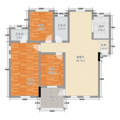 江景兰庭3室1厅2卫1厨125.00㎡户型图
