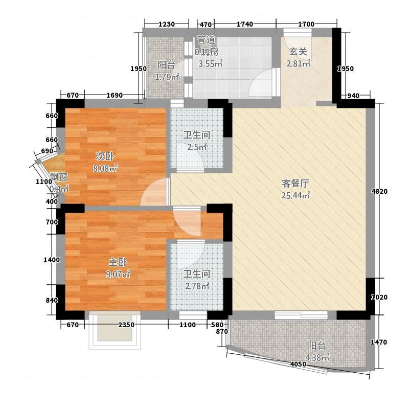 东泰花园83.00㎡户型2室