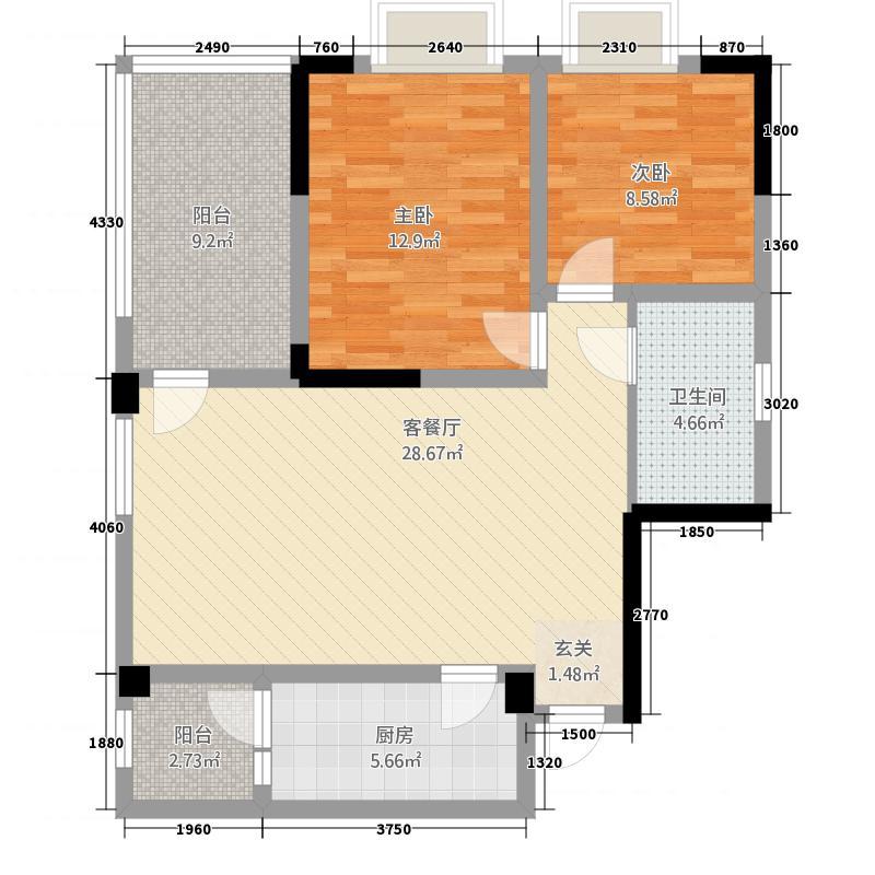 锦通满庭芳三期83.37㎡D3-2户型2室2厅1卫1厨