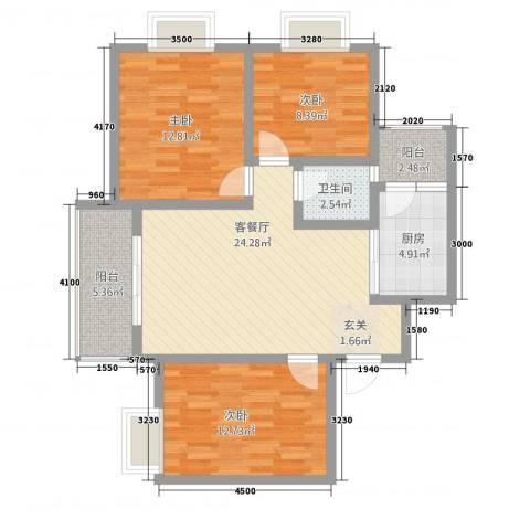 翰林尚城3室1厅1卫1厨85.08㎡户型图