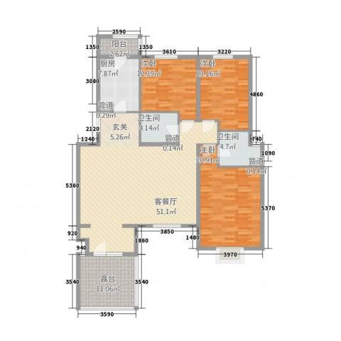 金色漫香林别墅3室1厅2卫1厨179.00㎡户型图