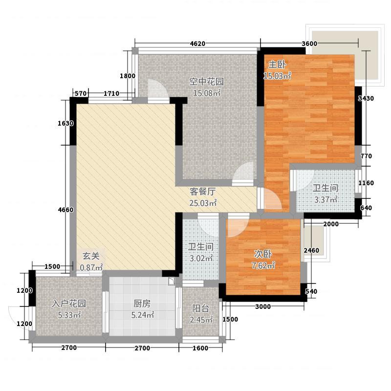 花涧林32221.18㎡3号户型2室2厅2卫1厨