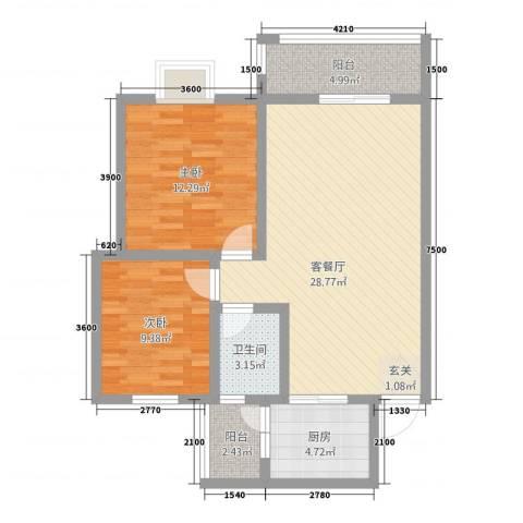 神州时代名城2室1厅1卫1厨82.00㎡户型图