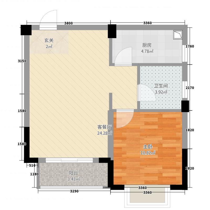 锦通满庭芳三期53.68㎡D4-1户型1室1厅1卫1厨
