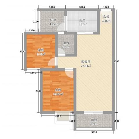 神州时代名城2室1厅0卫1厨74.00㎡户型图