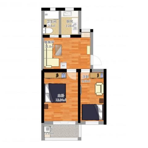 交大新村2室1厅1卫1厨65.00㎡户型图