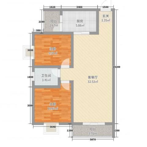 神州时代名城2室1厅1卫1厨68.41㎡户型图