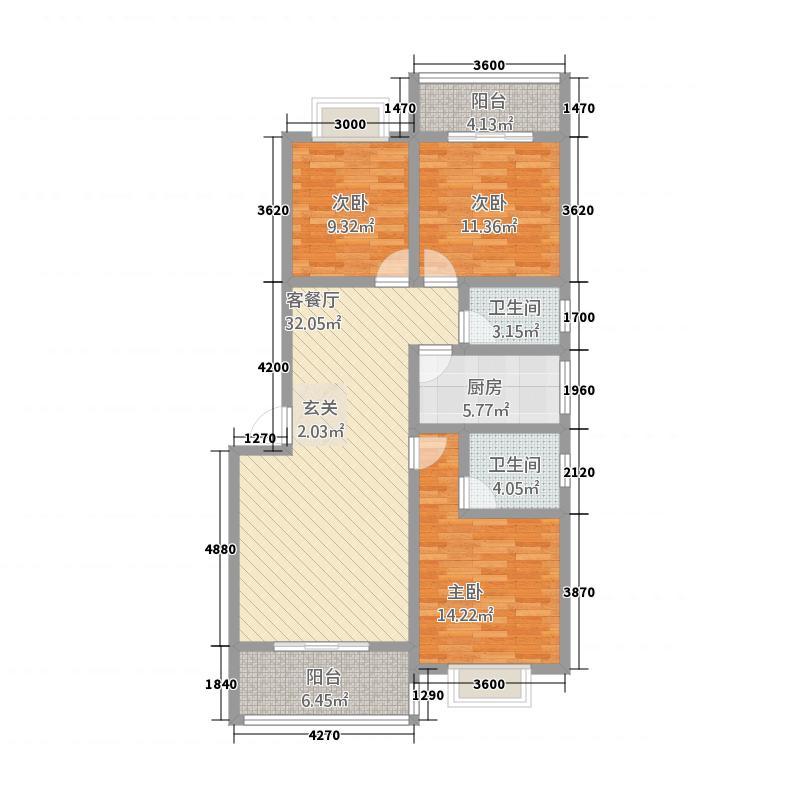 翰林尚城1.28㎡A2户型3室2厅2卫1厨