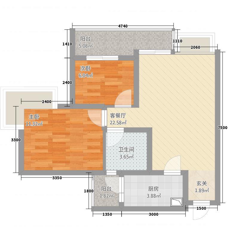 巨林・天下城3473.37㎡3号楼4号房户型2室2厅1卫1厨