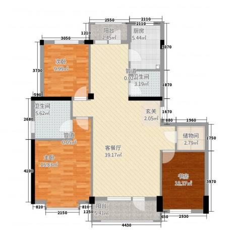 熙园3室1厅2卫1厨142.00㎡户型图