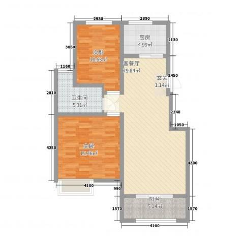 八号公馆2室1厅1卫1厨71.38㎡户型图