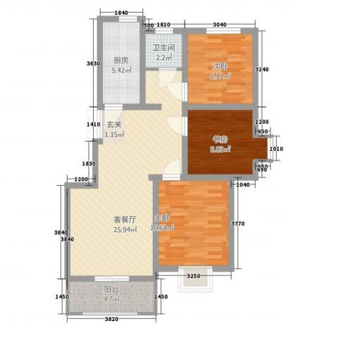 峰华都市花园3室1厅1卫1厨95.00㎡户型图