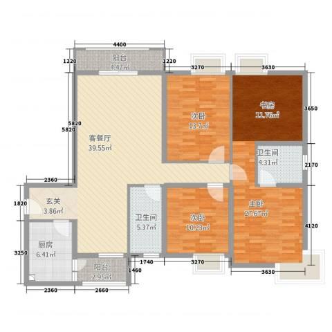 城南锦绣3室1厅2卫1厨114.65㎡户型图