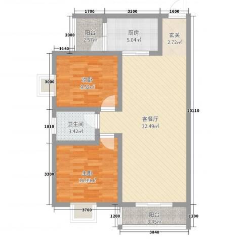 神州时代名城2室1厅1卫1厨67.48㎡户型图