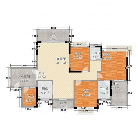 清水丽庭3室1厅2卫1厨177.00㎡户型图