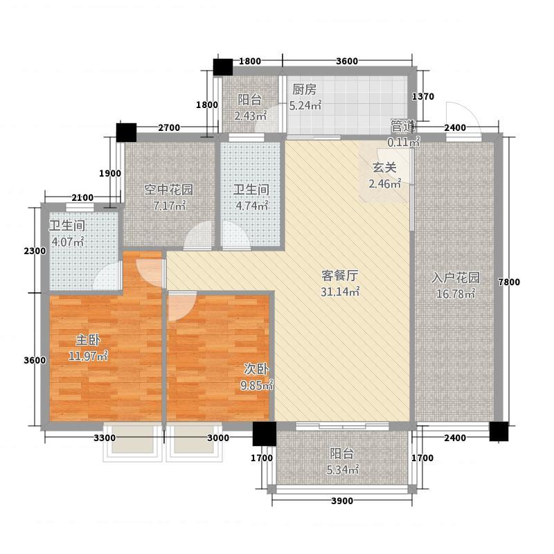 北岸雅阁8.00㎡E户型2室2厅2卫1厨