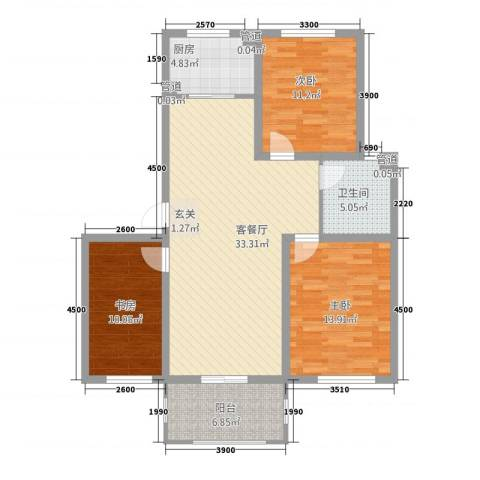 玫瑰花城3室1厅1卫1厨85.31㎡户型图