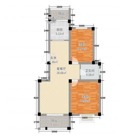 黄山天玺2室1厅1卫1厨71.27㎡户型图