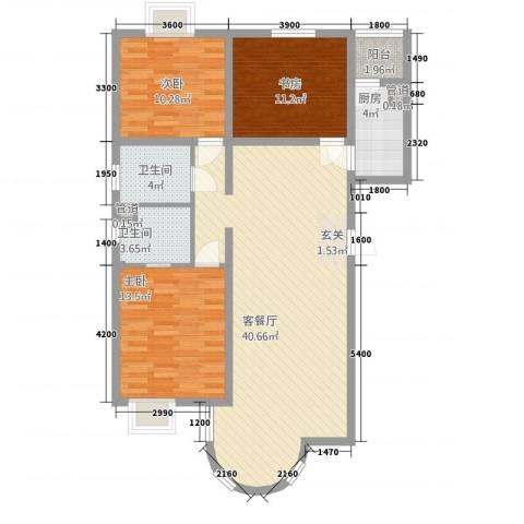 山水太阳城3室1厅2卫1厨127.00㎡户型图