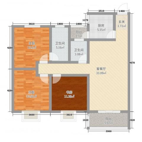 神州时代名城3室1厅2卫1厨89.71㎡户型图