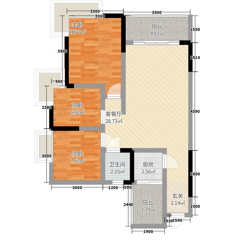 巨林・天下城1118.67㎡10、11号楼2号房户型3室2厅1卫1厨