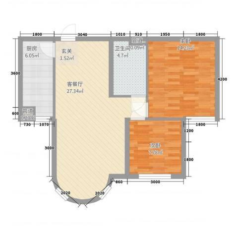 山水太阳城2室1厅1卫1厨85.00㎡户型图
