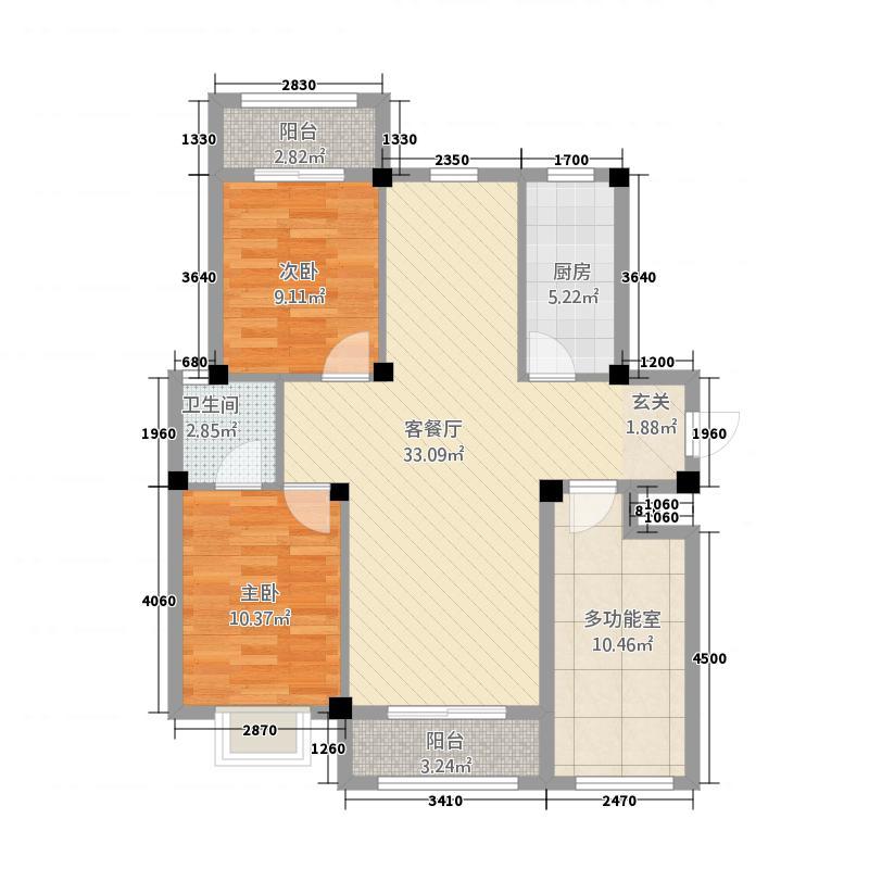 金谷鑫城四期11.80㎡金谷D2户型3室2厅1卫1厨