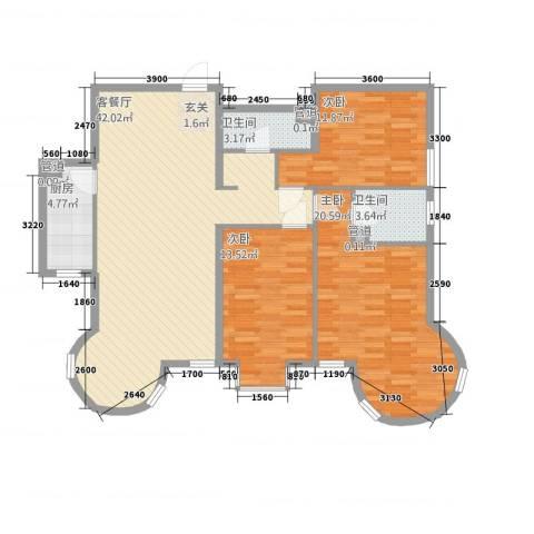 山水太阳城3室1厅2卫1厨139.00㎡户型图