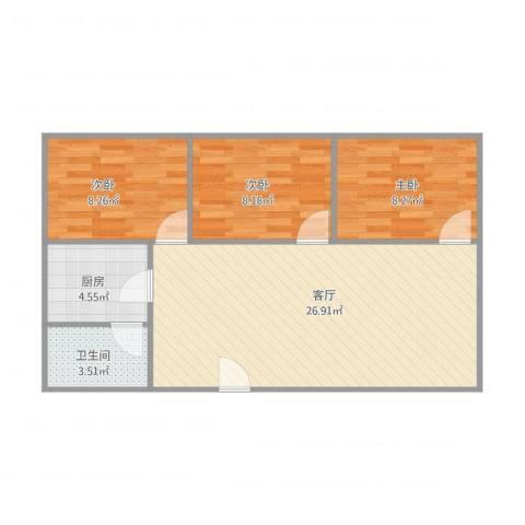 盘龙新村3室1厅1卫1厨80.00㎡户型图