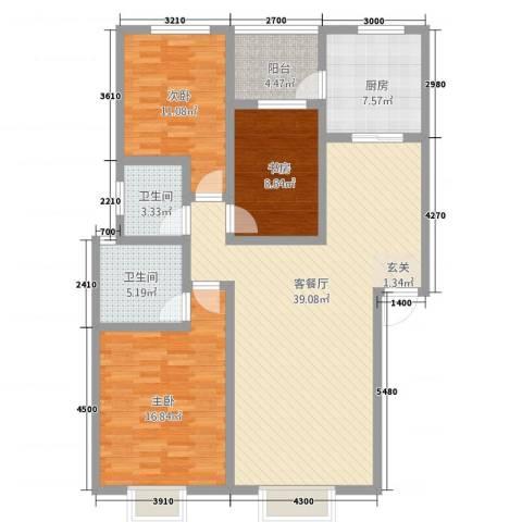 神州时代名城3室1厅2卫1厨96.19㎡户型图
